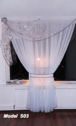 Decoratieve gordijn/vitrage met boog